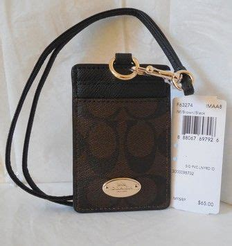 Coach Id Lanyard Sign Saddle Platinum 1 coach coach signature c pvc canvas leather brown black lanyard badge id credit card holder nwt