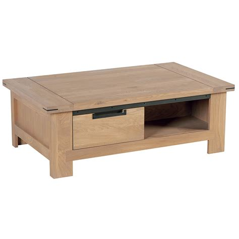 table basse tiroir table basse chene cire metal patine 1m15 ambiance meubles