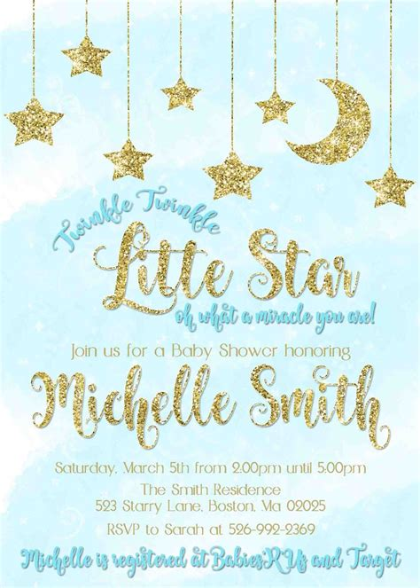 Baby Shower Invitations Twinkle Twinkle by Twinkle Twinkle Green Gold Glitter Baby Shower
