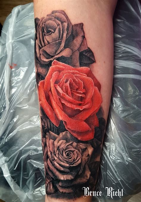 black red rose tattoo one realistic with black and grey roses by bruce