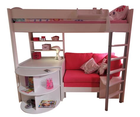 Bunk Bed With Desk And Futon Chair Stompa Casa Single High Sleeper Bunk Bed With Sofa Bed