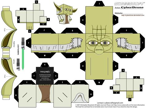 Paper Craft Wars - free yoda paper craft cubee printable freebies