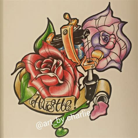 new school rose tattoo design new school designs