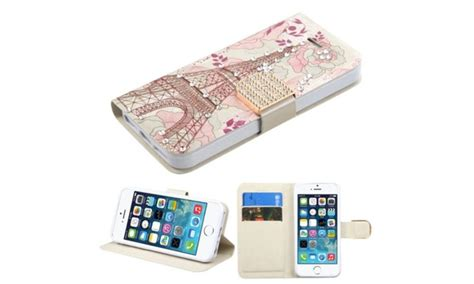 Fdt Iphone 5s for iphone 5 5c 5s se pink eiffel tower leather fabric w stand groupon