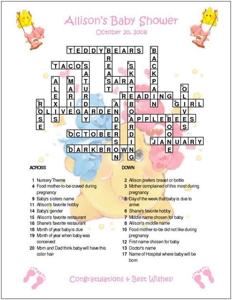 Baby Shower Crossword Puzzle Maker Free by Care Bears Custom Crossword Baby Shower Puzzles Ebay