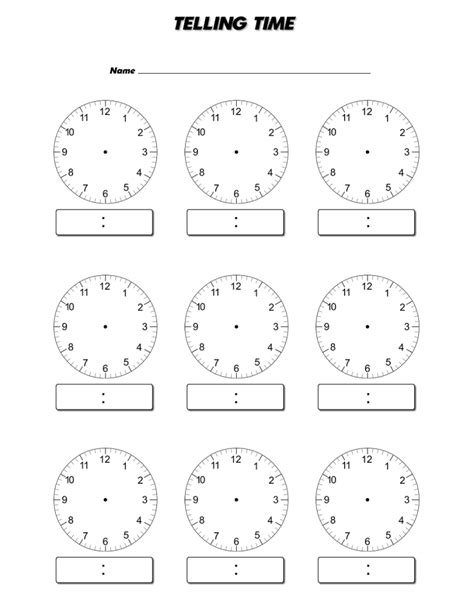 clock templates for telling time telling time worksheets blank clock faces worksheets for