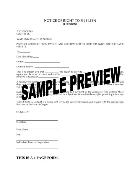 Oregon Notice Of Right To File Lien Legal Forms And Business Templates Megadox Com Lien Notice Template