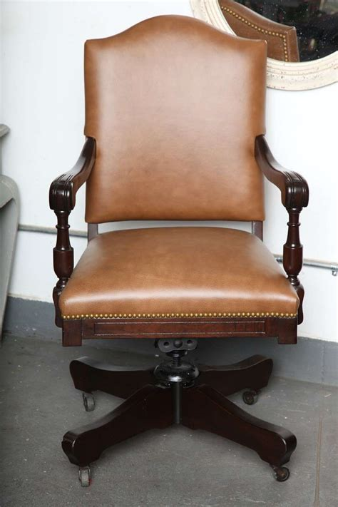vintage armchair with wheels antique classic swivel desk leather armchair with casters