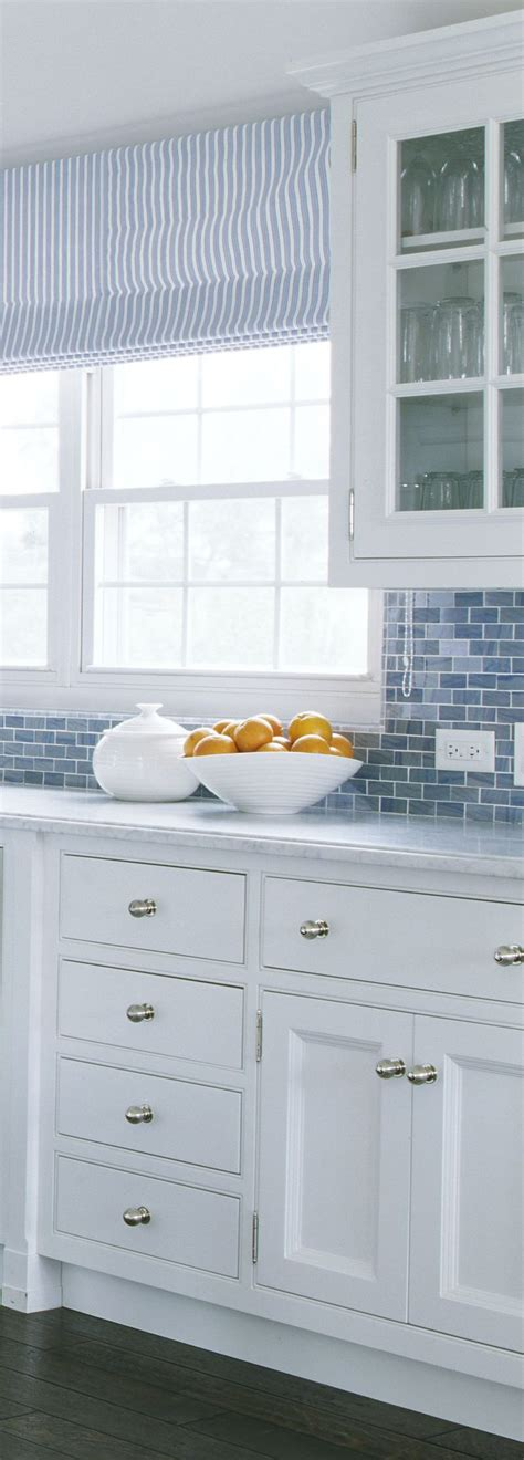 blue and white tile backsplash coastal kitchen hardware check tuvalu home