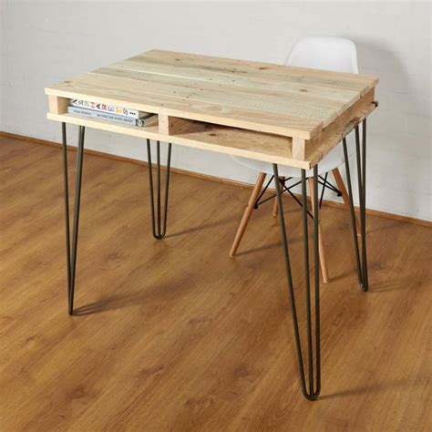 Reclaimed Industrial Pallet Office Desk Hairpin Legs By