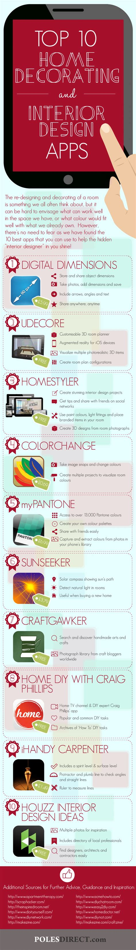 home decor infographic 10 must have home decorating and interior design apps