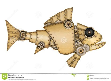 steampunk style industrial mechanical fish stock