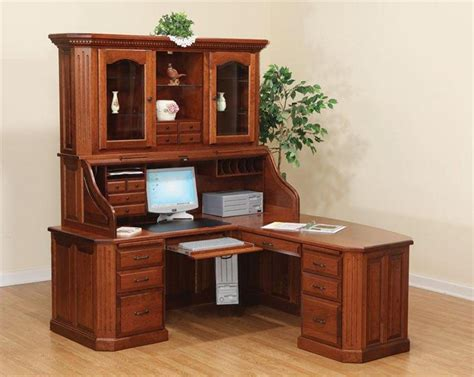 Wood Corner Desk With Hutch by Amish Fifth Avenue Executive Corner Roll Top Desk With Hutch