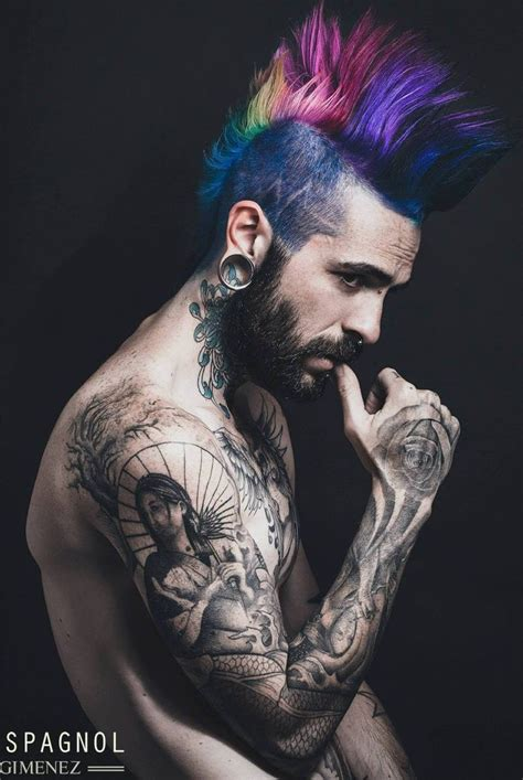 rainbow mohawk eyecandy tattoos hairstyle men pinterest