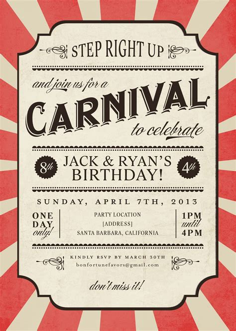 carnival themed invitations templates free carnival ideas new center