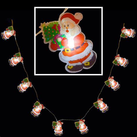10 White Led Santa Fairy Lights Indoor Battery Christmas