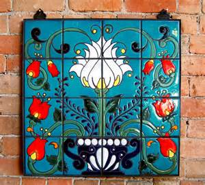 Red Kitchen Backsplash Ideas mexican talavera style floral hand glazed by carlyquinndesigns
