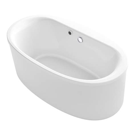kohler freestanding bathtub shop kohler sunstruck 65 50 in white acrylic freestanding bathtub with center drain at