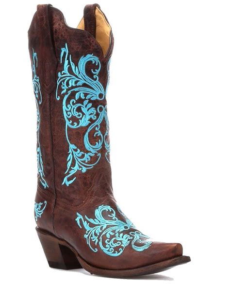 s corral brown turquoise dhalia leather cowboy boots