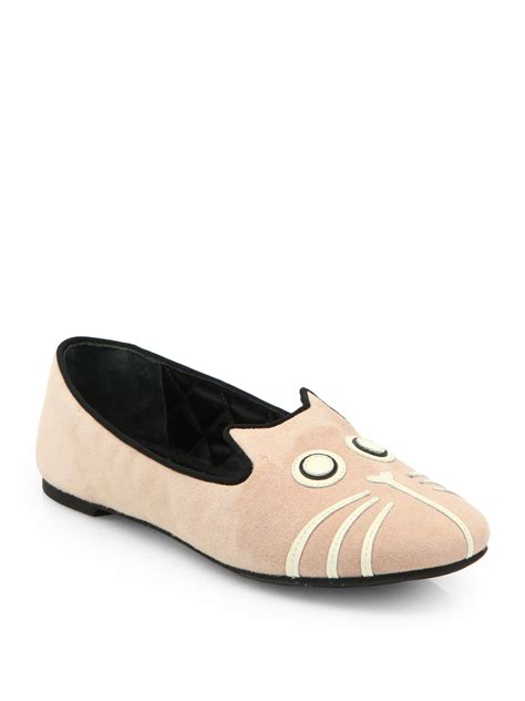marc slippers marc by marc suede cat slippers in pink lyst
