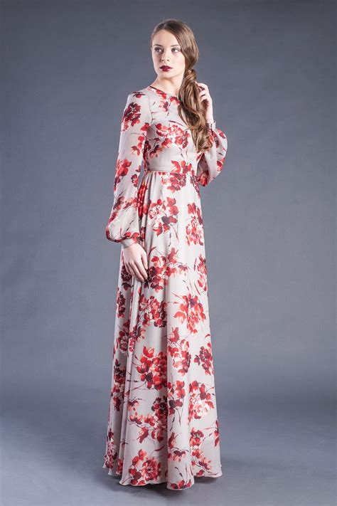 Longdress Maxi Siena modest floral print sleeve maxi dress modest floor length dress modesty