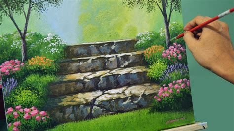 acrylic landscape painting lesson stairway  flower