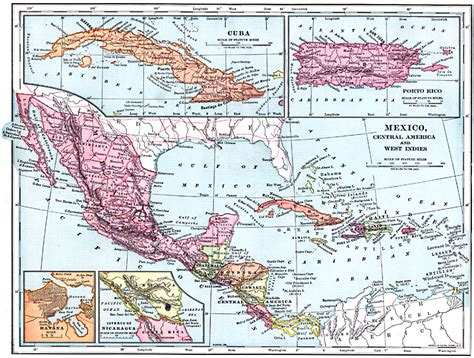 west indies political map mexico central america and west indies