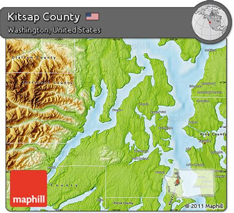 Kitsap County Search Free Physical Map Of Kitsap County