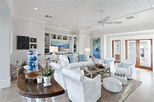 Nautical Themed Ceiling Fans - tropical beach living room with gray carpet and ceiling