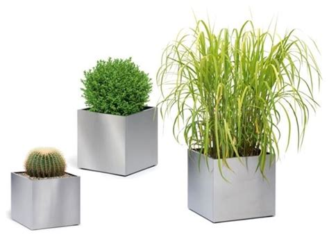 square stainless steel outdoor planters outdoor pots and