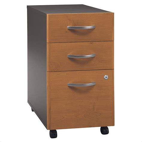 Bush Series C 3 Drawer Vertical Mobile Wood File Natural Wood Filing Cabinets