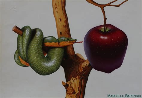 snake apple snake and apple drawing by marcello barenghi 1991 by