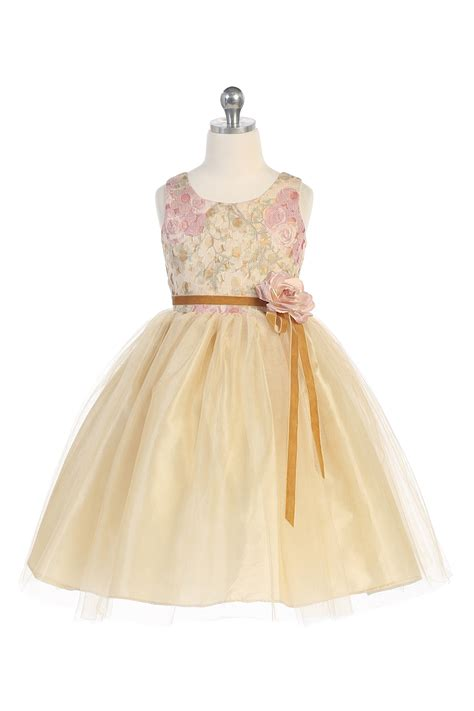 pattern flower girl dress chagne embroidered floral pattern tulle skirt flower