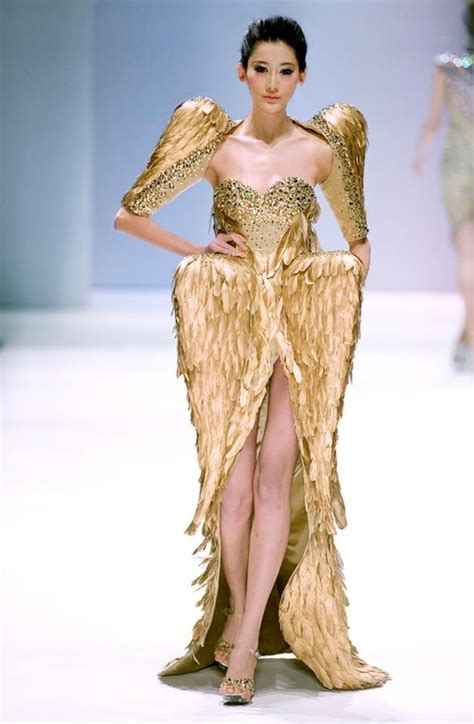 Golden Modeling In Project Runway Show At Fashion Week by Metallic Gold Dress Runway Fashion Rich Closet