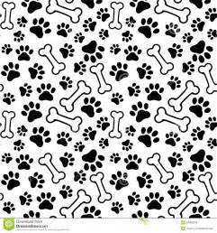 Puppy Wall Stickers seamless background pet paw print and bone royalty free