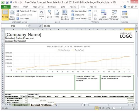 Free Sales Forecast Template For Excel 2013 With Editable Logo Sales Forecast Template Excel