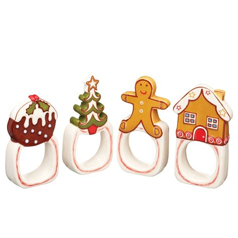 images of christmas ring christmas fayre 4 piece ceramic napkin ring set disc