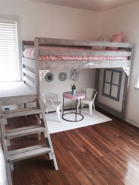 white loft bed i made for my daughters room my decor
