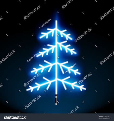 glowing green lights in trees blue neon glowing tree blue stock vector