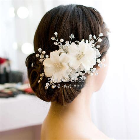 Handmade Bridal Accessories - free shipping white handmade beaded bridal hairpin hair