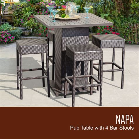 napa patio furniture tk classics napa pub table set with backless barstools