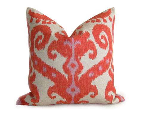 Etsy Designer Pillows by Ikat Designer Pillow Cover Firecracker Coral Orange 18
