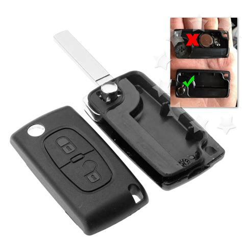 peugeot 307 key 2 button replacement remote flip key fob shell blade
