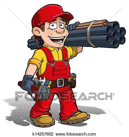 clipart idraulico clip uomo tuttofare idraulico rosso k14257602