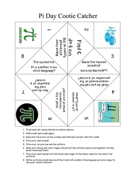 pi day cootie catcher pdf math pi math