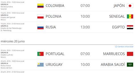hora de bogota colombia hora de colombia de los partidos del mundial de rusia