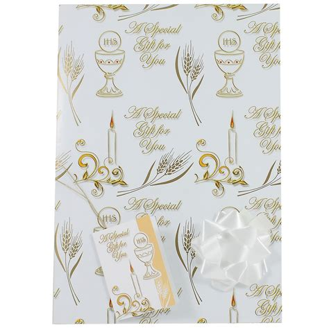 Holy Communion Cards And Gifts - first holy communion gift wrap paper with tag and bow cachet kids