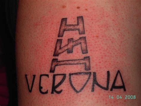 hellas verona nero su bianco tattoo