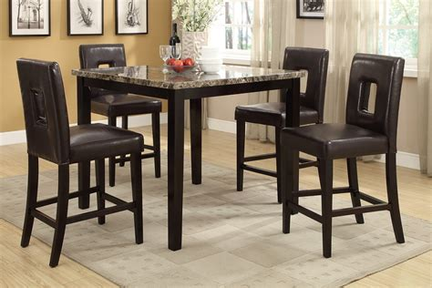 marble top bar height table 5pc rex ford dark brown marble top counter height dining table set