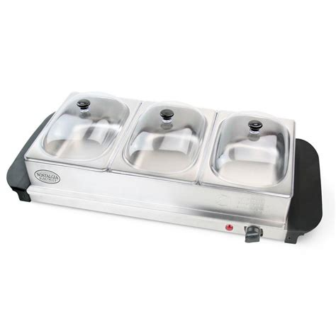 Nostalgia Electrics 3 Section Mini Buffet Server And Buffet Server And Warming Tray